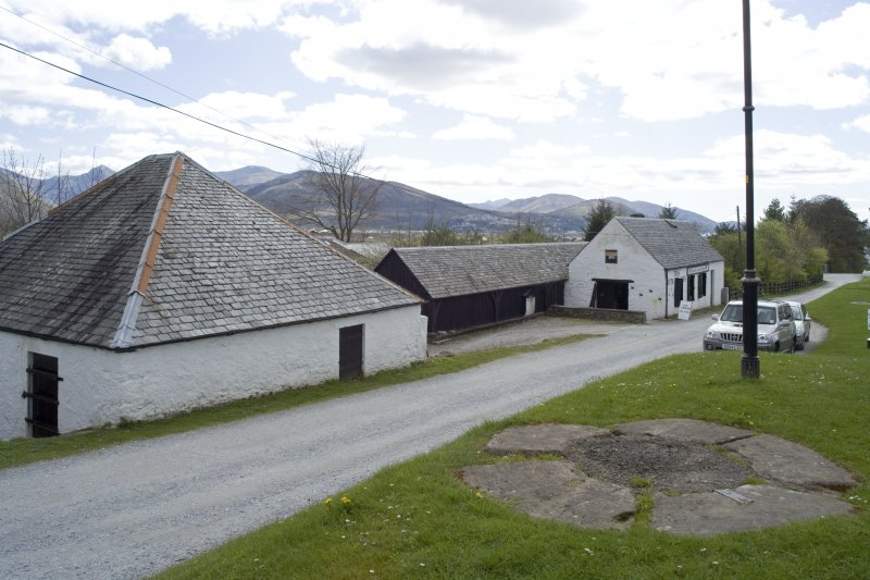 View.  From N showing the stables and smithy at Banavie.
