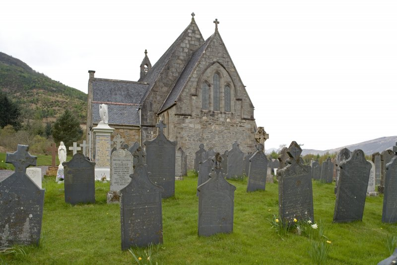 View from E.  Showing church with part of burial-ground and slate graveslabs.