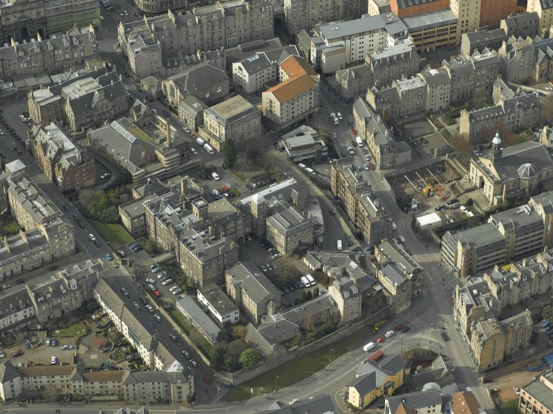 Oblique aerial view of the town centred on the university buildings, taken from the ESE.