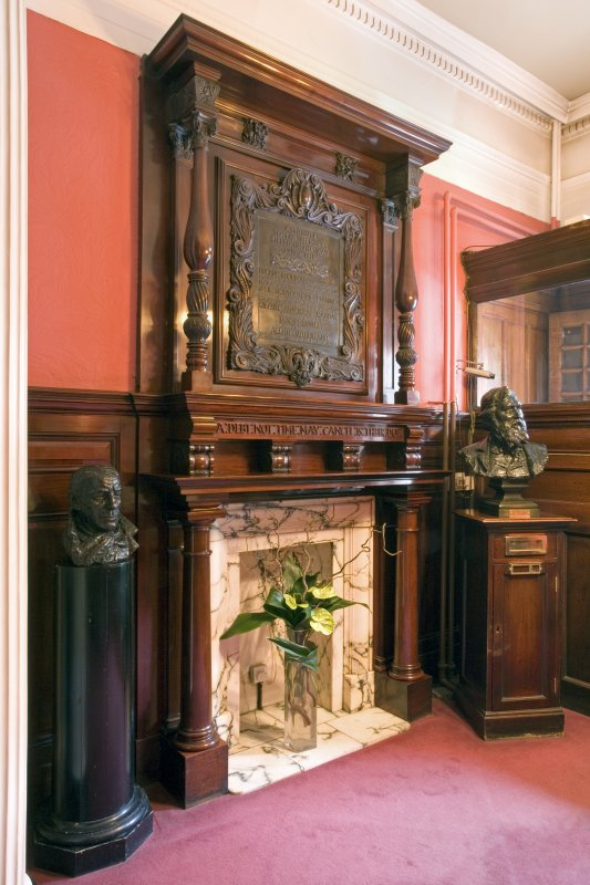 Interior. Ground floor. Entrance hall. Fireplace and memorial panel