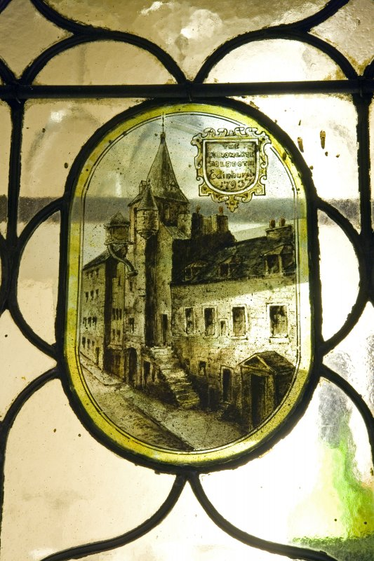 Interior. Ground floor. Bar. Painted glass panel 'The Canongate Tolbooth, Edinburgh, 1793'.