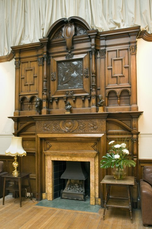 Interior. Ground floor. Gallery. W end fireplace and overmantle. Detail