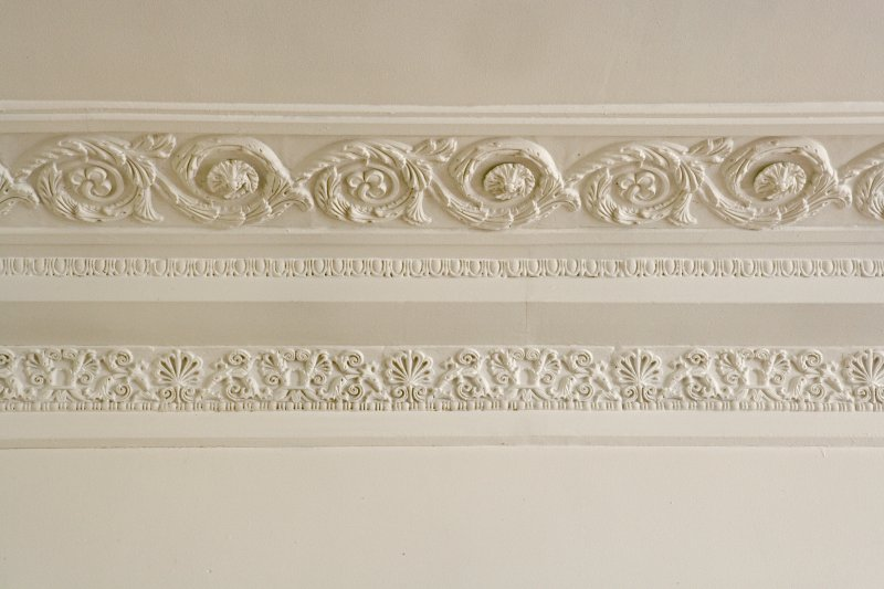 Interior. 1st floor. Library. Cornice. Detail.