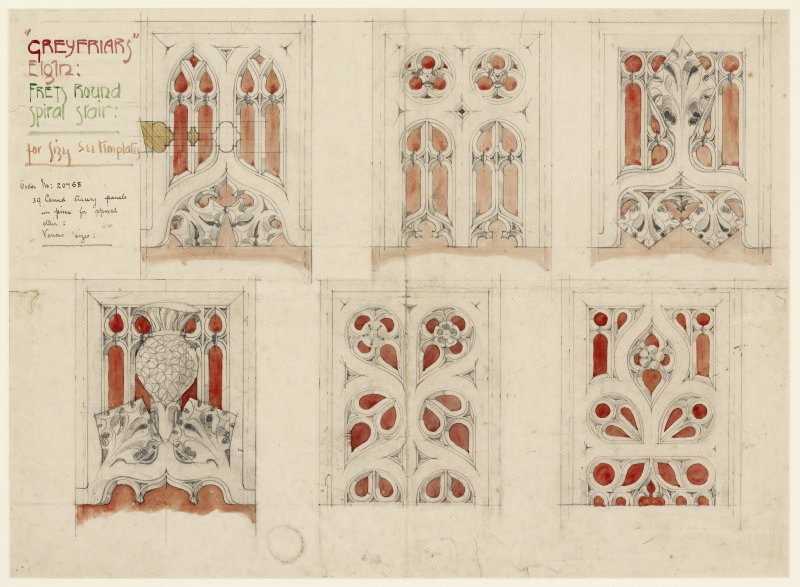 "Digital copy of drawing of Interior. Drawing entitled ""'Greyfriars"" Elgin: Frets round spiral stair: for sizes see templates'.  'Order no: 20768, 39 Carved tracery panels in pine for spiral stair: various sizes.' Possibly by David ramsay."