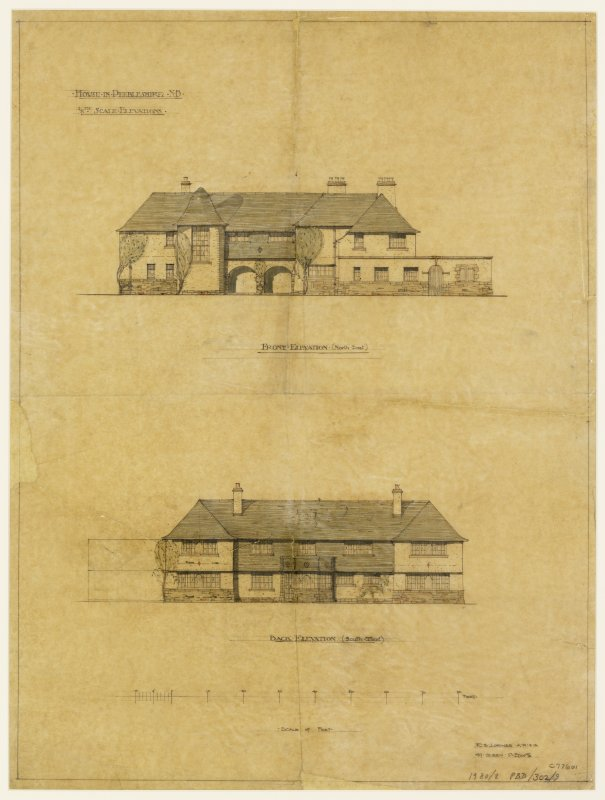 Digital image of drawing of Front and rear elevations of second proposed scheme.