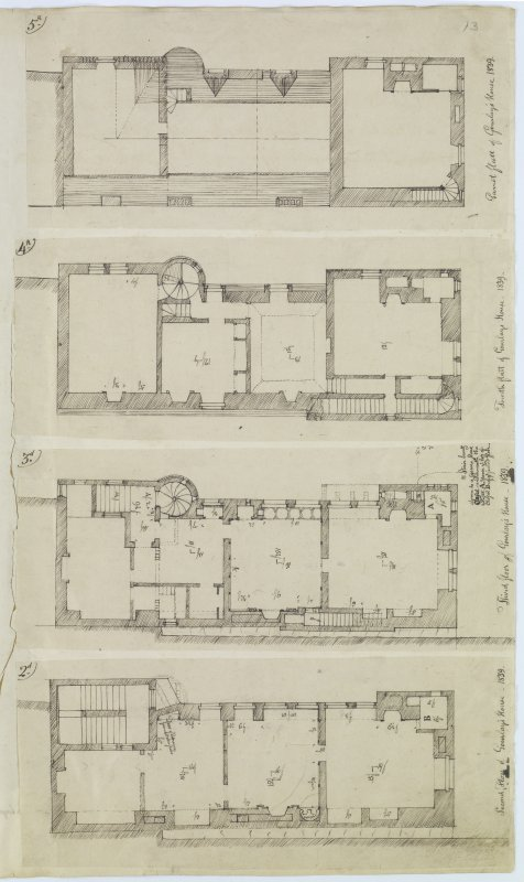 Digital copy of page 13: Plans of Second, Third, Fourth and Garret Floors of Robert Gourlay's house, 1839. 'MEMORABILIA, JOn. SIME  EDINr.  1840'