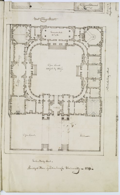 "Digital copy of page 14: Plan of Old College, South Bridge. Insc. ""Abridged Plan of Edinburgh University -1819"" 'MEMORABILIA, JOn. SIME  EDINr.  1840'"