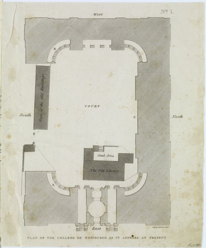 "Digital copy of page 14 verso: Engraving of Plan of Old College. Insc. ""Plan of the College of Edinburgh as it appears at present.  Eng.d by W.H.Lizars Edin.r"" 'MEMORABILIA, JOn. SIME  EDINr.  1840'"