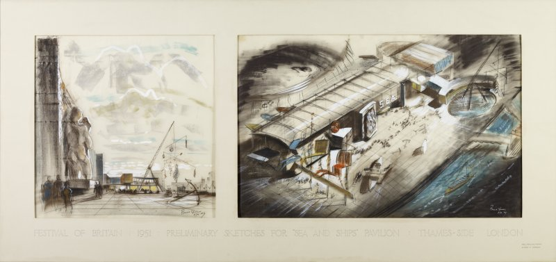 Preliminary sketches for Sea and Ships Pavilion, South Bank, London.