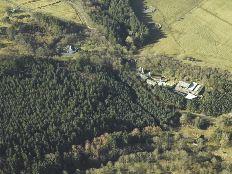 Oblique aerial view centred on Stobs Station and the Barns Viaduct, taken from the NE.