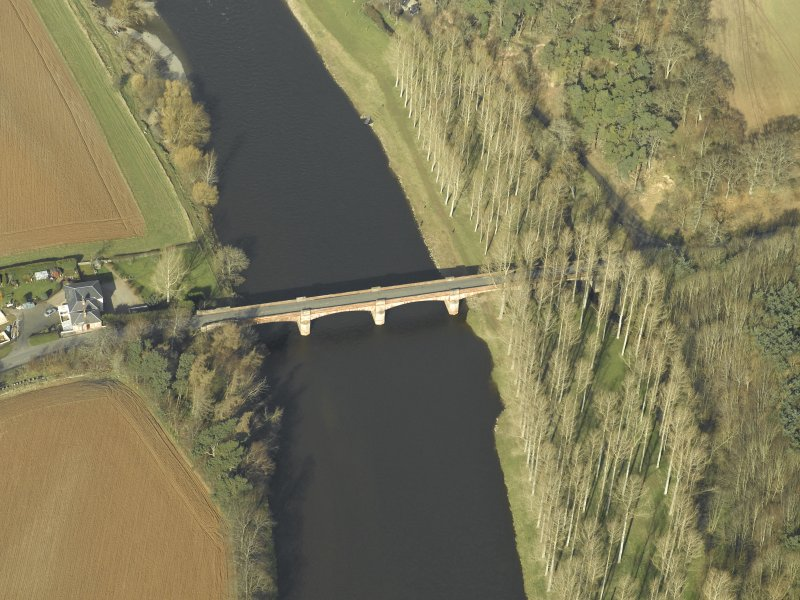 Oblique aerial view centred on Mertoun Bridge, taken from the SSE.