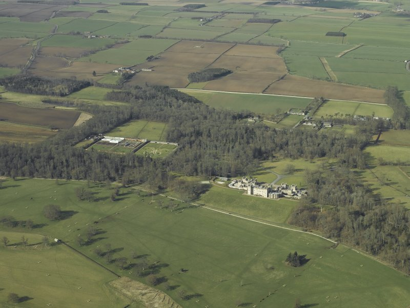 General oblique aerial general view centred on Floors Castle and Estate, taken from the SE.