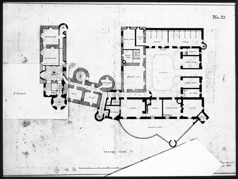 Ballindalloch Castle. Mechanical drawing. Plan of ground floor as prepared in 1848 with a view to the grand entrance, abandoned, also alteration adopted under third contract. 'No. 27'. Titled: 'Ground Floor'. 1848.  Signed: 'Mackenzie and Matthews'.