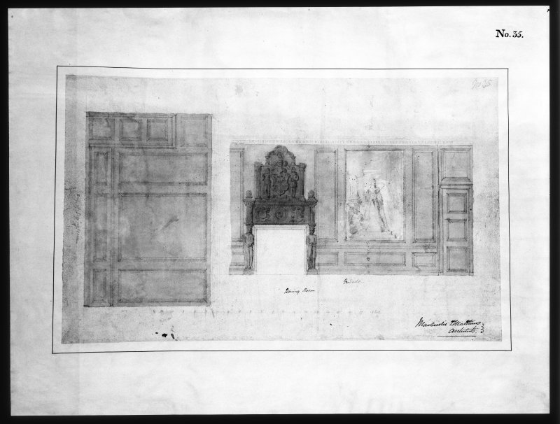 Ballindalloch Castle. Scanned copy of drawing. Design for finishings of dining room as executed (coat of arms) (mural). 'No. 35'. Signed: 'Mackenzie and Matthews'.