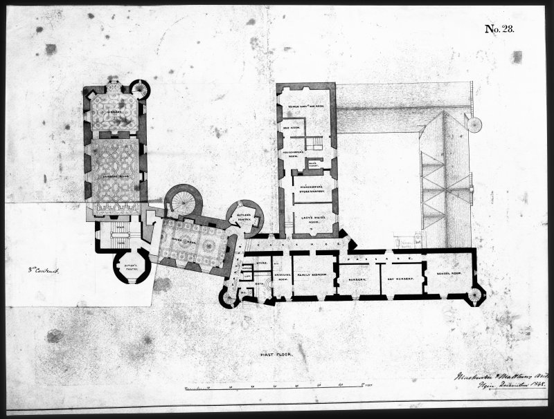 Ballindalloch Castle. Mechanical drawing. Plan of first floor as prepared in 1848 and alteration adopted under third contract. 'No. 28'. Titled: 'First Floor'. 1848.  Signed: 'Mackenzie and Matthews'.