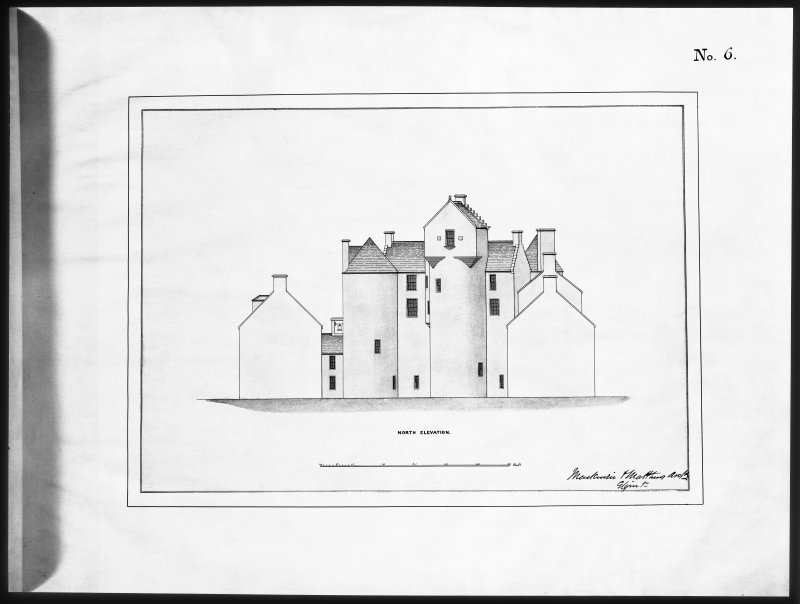 Ballindalloch Castle. Mechanical copy of drawing. North elevation of Castle as it stood prior to alterations, 1847. Principal entrance then on this side. 'No. 6' Titled: 'North Elevation'. Signed: 'Mackenzie & Matthews'.
