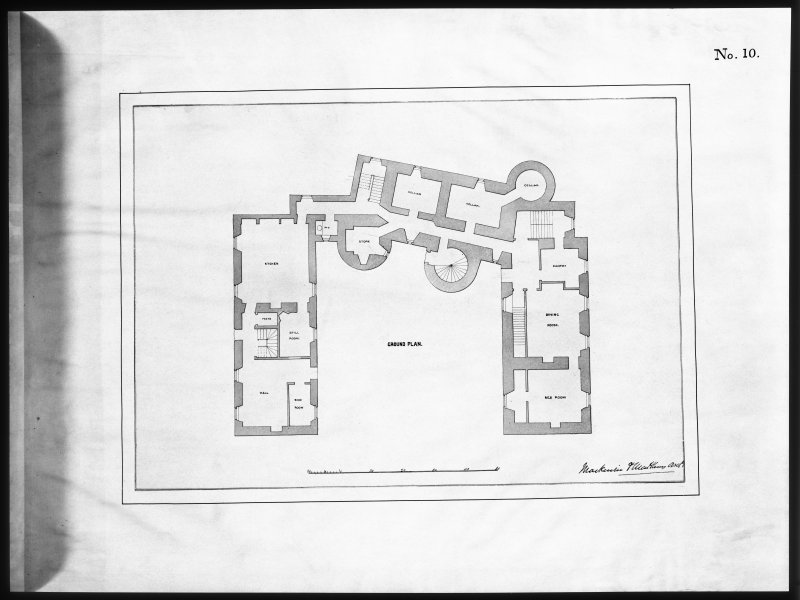 Ballindalloch Castle. Mechanical copy of drawing. Plan of ground floor prior to alterations, c.1847. 'No. 10' Titled: 'Ground Plan'. Signed: 'Mackenzie & Matthews'.