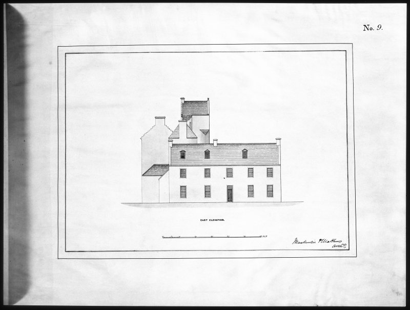 Ballindalloch Castle. Mechanical copy of drawing. East elevation of Castle as it stood prior to alterations, c.1847. 'No. 9' Titled: 'East Elevation'. Signed: 'Mackenzie & Matthews'.