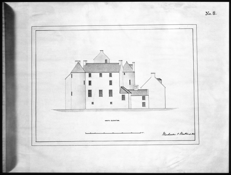 Ballindalloch Castle. Mechanical copy of drawing. South elevation of Castle as it stood prior to alterations, c.1847. 'No. 8' Titled: 'South Elevation'. Signed: 'Mackenzie & Matthews'.