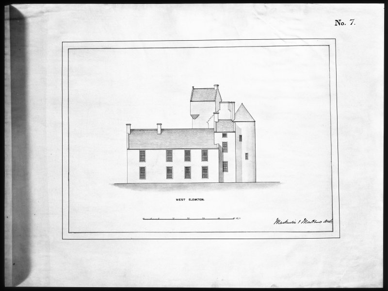 Ballindalloch Castle. Mechanical copy of drawing. West elevation of Castle as it stood prior to alterations, c.1847. 'No. 7' Titled: 'West Elevation'. Signed: 'Mackenzie & Matthews'.