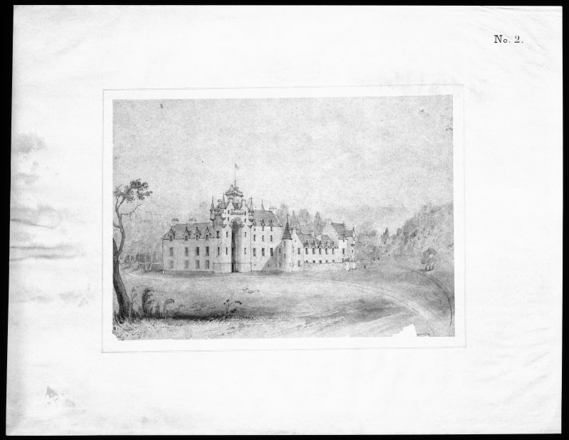 Ballindalloch Castle. Mechanical copy of drawing. Sketch of castle South side as it stood in 1847, prior to alterations. 'No. 5' Signed: 'Mackenzie & Matthews'.