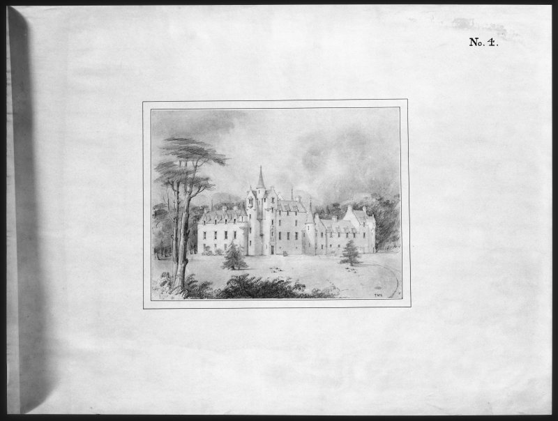 Ballindalloch Castle. Mechanical copy of drawing. Sketch of third design of new entrance, completed. 'No. 4' Signed: 'T. McK'.