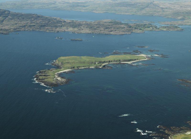 General oblique aerial view centred on the island, taken from the SSE.