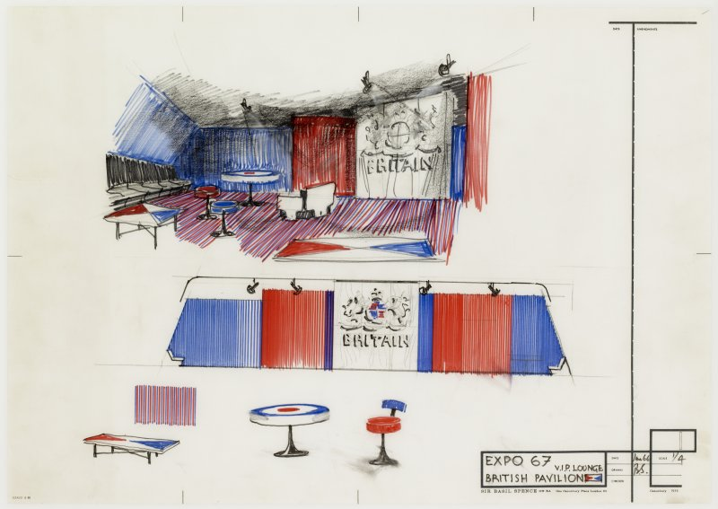 Sketch perspective and details for the V.I.P lounge of the British pavilion at Expo '67.