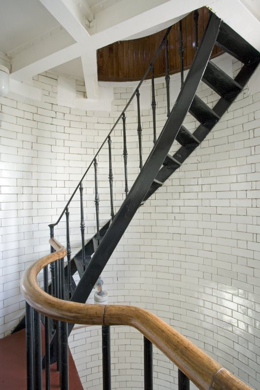 Interior view of the cast iron stair from 2nd level to lightroom, Todhead Lighthouse.