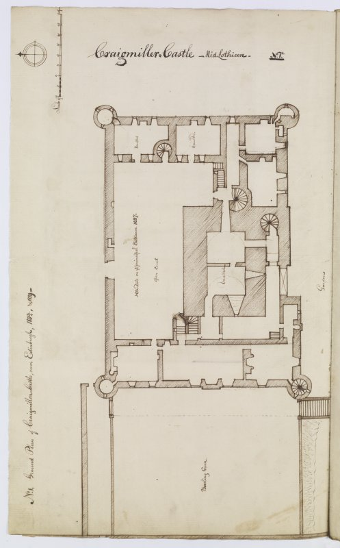 "Digital copy of page 17 verso: ""No.1 Ground Plan of Craigmillar Castle, near Edinburgh, 1803/4 & 1829"" 'MEMORABILIA, JOn. SIME  EDINr.  1840'"
