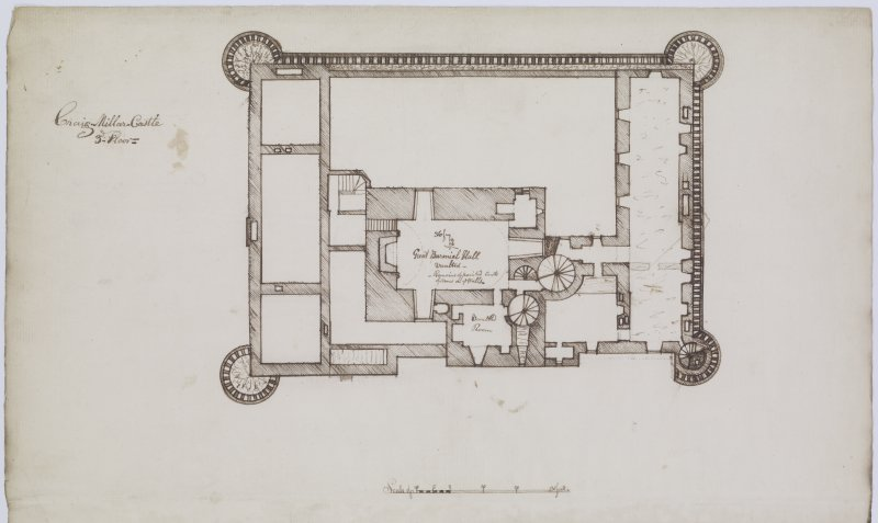 Digital copy of page 19 verso: Ink sketch plan of Third Floor of Craigmillar Castle, No.3 'MEMORABILIA, JOn. SIME  EDINr.  1840'