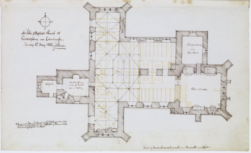 "Digital copy of page 24 verso: Ink sketch plan of St John the Baptist's Church, Corstorphine Insc. ""St John ye Baptist's Church at Corstorphine near Edinburgh. Thursday 6th May 1847. J.Sime"" 'MEMORABILIA, JOn. SIME  EDINr.  1840'"