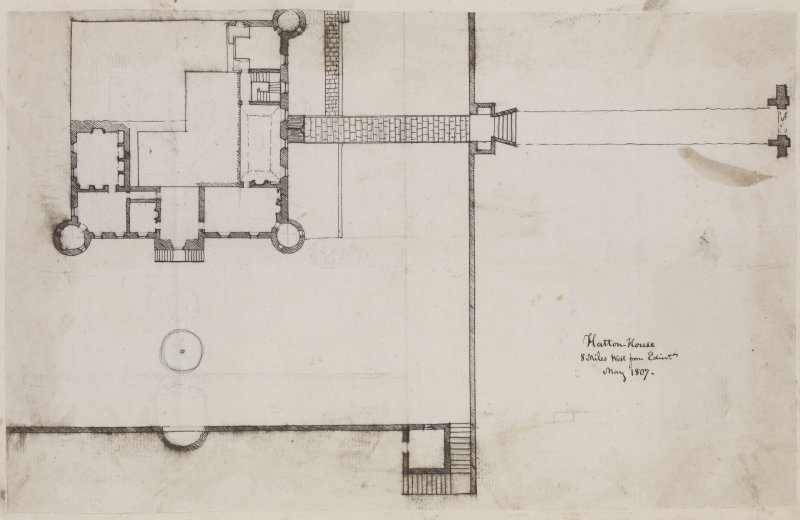 "Digital copy of page 25 verso: Part of ink sketch plan of Hatton House. Insc. ""Hatton House, 8 miles West from Edin.r  May 1807"" 'MEMORABILIA, JOn. SIME  EDINr.  1840'"