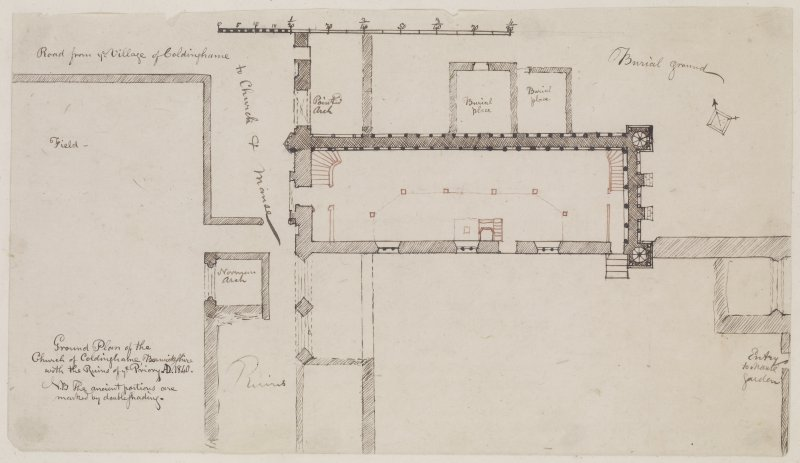 "Digital copy of page 30 verso: Ink sketch plan of Ground Plan of Coldinghame Church. Insc. ""Ground Plan of the Church of Coldinghame, Berwickshire, with the ruins of ye Priory AD 1840"" 'MEMORABILIA, JOn. SIME  EDINr.  1840'"