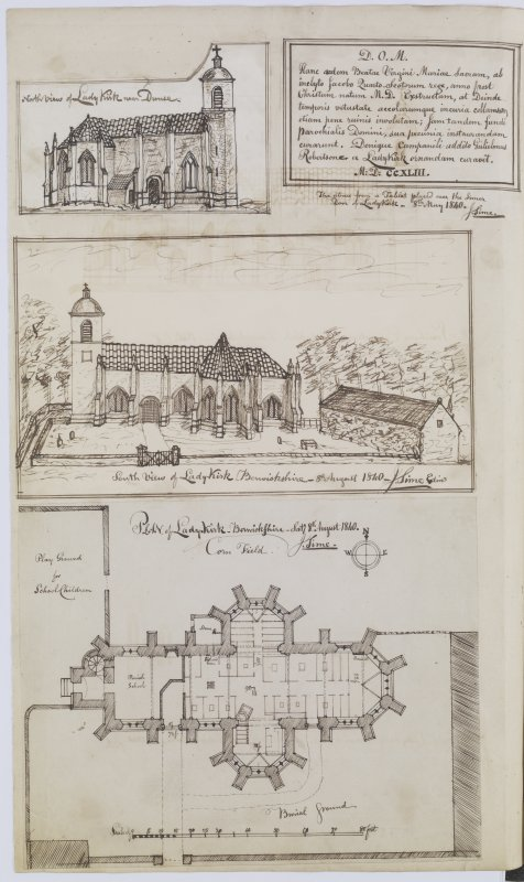 Digital copy of page 31 verso: Ink sketches of North elevation, a tablet, South elevation and plan of Lady Kirk, near Duns 'MEMORABILIA, JOn. SIME  EDINr.  1840'
