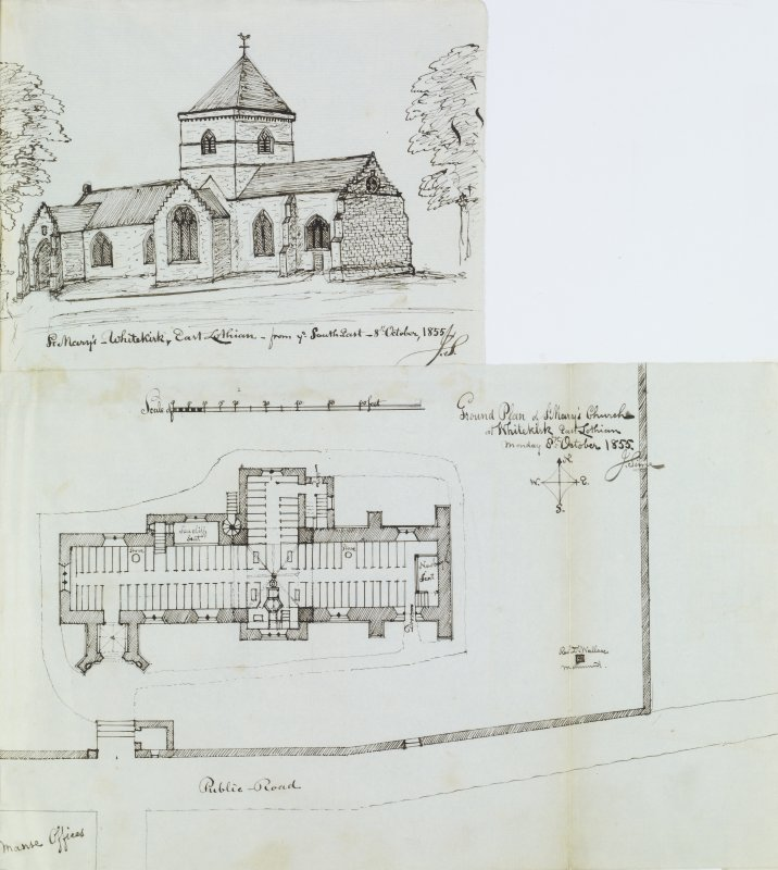 "Digital copy of page 30/2. Ink sketch plan of Ground Floor of St Mary's Church, Whitekirk and the church from the SE. Insc. ""Ground Plan of St Mary's Church, Whitekirk, East Lothian. Monday 8th October 1855. J.Sime"" 'MEMORABILIA, JOHN SIME  EDINr.  1840'"