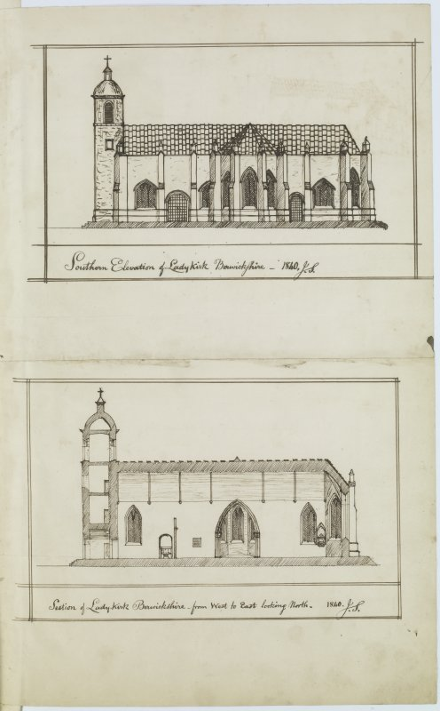 Digital copy of page 32: Ink sketches of South elevation and section through Lady Kirk, near Duns. 'MEMORABILIA, JOn. SIME  EDINr.  1840'