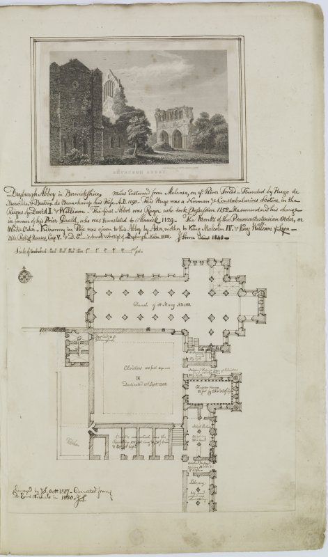 Digital copy of page 33: Engraving and ink plan of Dryburgh Abbey. 'MEMORABILIA, JOn. SIME  EDINr.  1840'