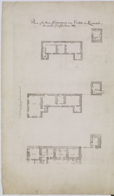 "Digital copy of page 35 verso: Plans of Floors in house of Cowdenknows near Earlston Insc. ""Plans of the House of Cowdenknows near Earlston in Lauderdale -the residence of Dr John Home. 1807"" 'MEMORABILIA, JOn. SIME  EDINr.  1840'"