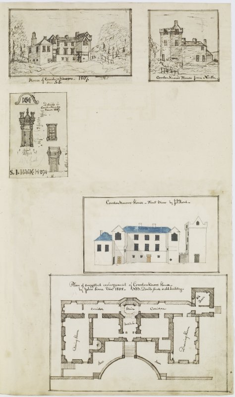 Digital copy of page 36: Ink sketches of Cowdenknows House from the South East, from the North and showing details, front elevation and plan. 'MEMORABILIA, JOn. SIME  EDINr.  1840'