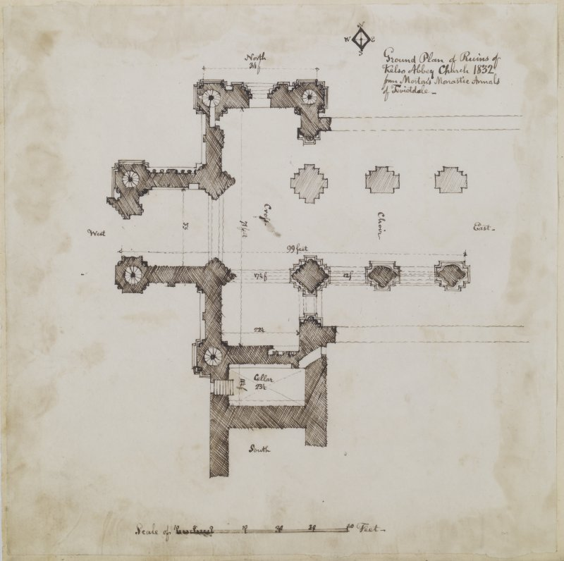 "Digital copy of page 36 verso: Ink sketch plan of Kelso Abbey ruins. Insc. ""Ground plan of ruins of Kelso Abbey Church 1832 from Morton's Monastic Annals of Teviotdale"" 'MEMORABILIA, JOn. SIME  EDINr.  1840'"