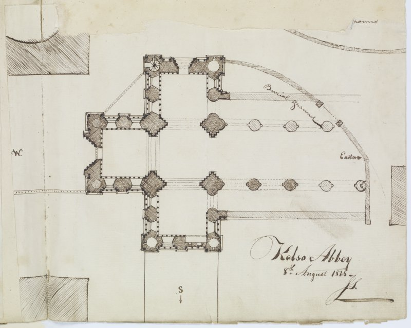 "Digital copy of page 37: Ink sketch plan of Kelso Abbey Signed and Dated ""8th August 1818. J.S."" 'MEMORABILIA, JOn. SIME  EDINr.  1840'"
