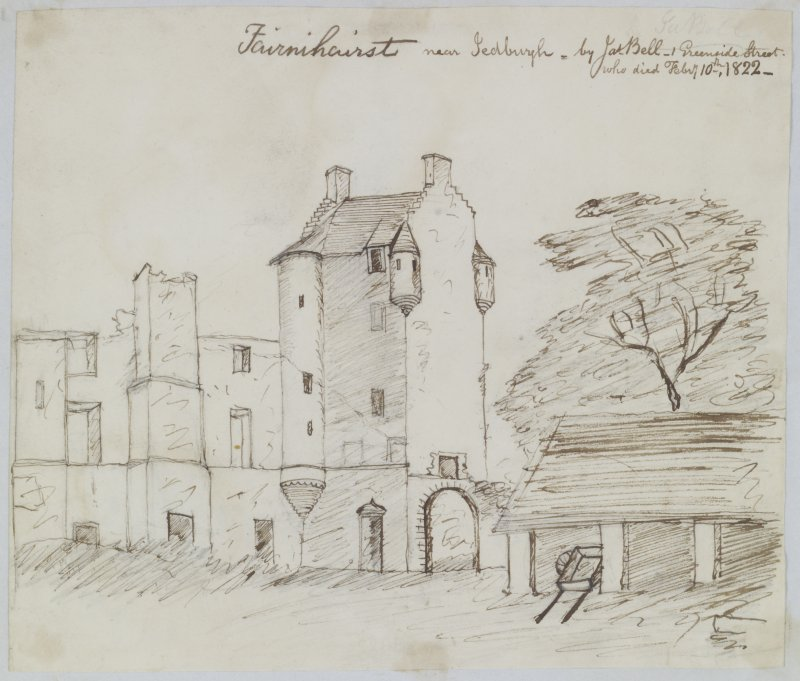 "Digital copy of page 41 verso: Ink sketch of Fairnihairst near Jedburgh Insc. ""Fairnihairst near Jedburgh. by Jas. Bell, 1 Greenside Street who died Feb 10th 1822"" 'MEMORABILIA, JOn. SIME  EDINr.  1840'"