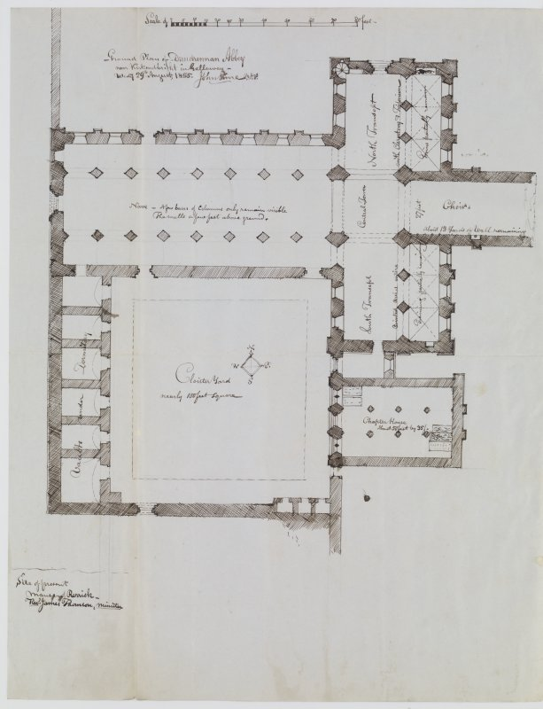 "Digital copy of page 42 verso: Ink sketch plan of Dundrennan Abbey Insc. ""Ground Plan of Dundrennan Abbey near Kirkcudbright in Galloway. Wed.y 29th August 1855. John Sime"" 'MEMORABILIA, JOn. SIME  EDINr.  1840'"