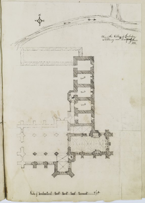 "Digital copy of page 44: Ink sketch plan of Lincluden College. Insc. ""Plan of the College of Lincluden in Galloway near Dumfries. J. Sime. 1835"" 'MEMORABILIA, JOn. SIME  EDINr.  1840'"