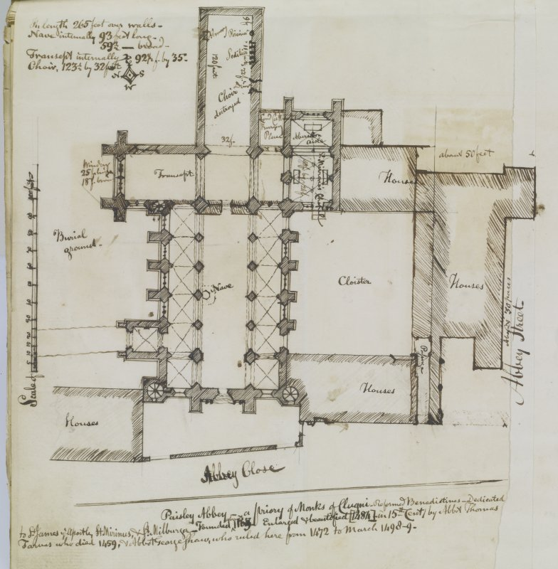 Digital image of page 46 A: Ink sketch plan of Paisley Abbey 'MEMORABILIA, JOn. SIME  EDINr.  1840'
