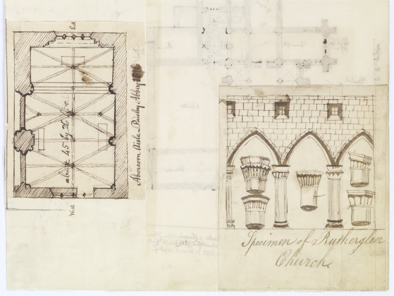 Digital copy of page 46 A verso: Ink sketches of plan of Abercorn Aisle, Paisley Abbey and specimen of Rutherglen Church. 'MEMORABILIA, JOn. SIME  EDINr.  1840'