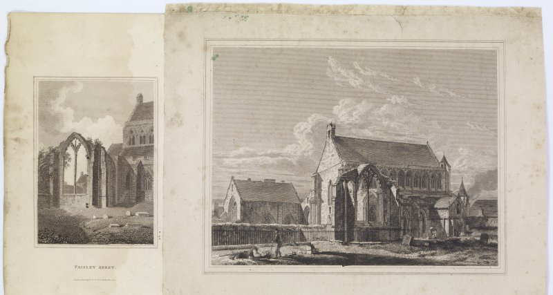 Digital copy of page 46 verso: Two engravings of Paisley Abbey. 'MEMORABILIA, JOn. SIME  EDINr.  1840'