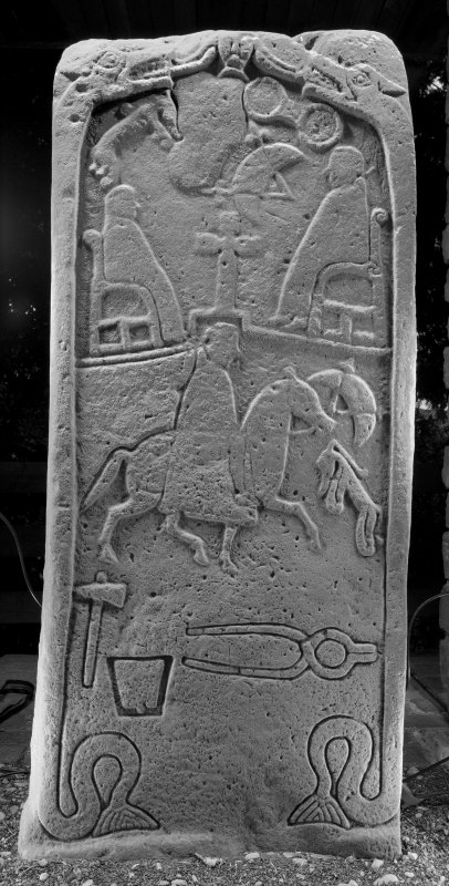 View of face with pictish carvings (B&W)