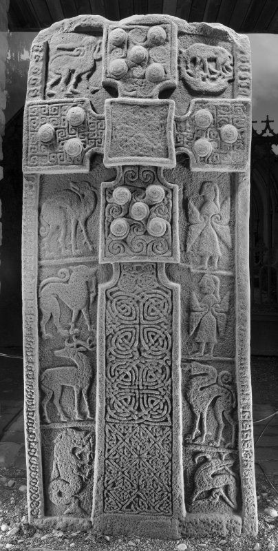 View of face with cross and pictish carvings (B&W)
